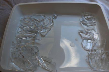 Fragments de verre en attente